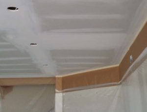 unsanded walls before ceiling texture to apply paper and tape